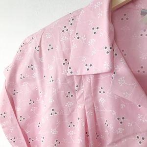 Vintage Dresses - Vintage Eyelet Print Pink Waitress Style Dress